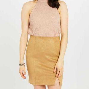 NWT Altar'd State Camel Jersey Skirt Small